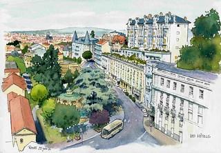 Royat , panorama sur les hôtels vus de la terrasse du Princesse Flore ( normalement on y déjeune mais on n'y croque pas ;-)  )