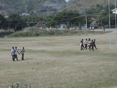 Kids walking around The rugby pitch