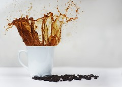 Caffeinated ((photo)shooting_starr) Tags: drink food coffee shutterspeed speed water whitebackground