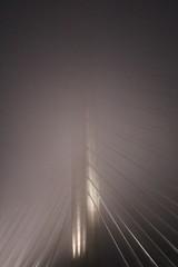 Ribs (elisecavicchi) Tags: bridge lines ribs light ribcage dusk gloaming dark evening night maine rural sky cloud fog mist overcast mood gloom glow mystery construct hidden travel explore shaft beams haze
