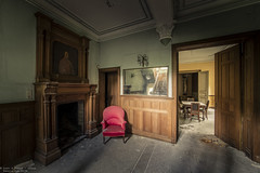 Faded Glory (Dennis van Dijk) Tags: abandoned forgotten decay beauty lost found prescious travel canon gitzo ue eu urbex urban exploration red chair empty dining room ball hall way grand