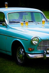 four pints (khrawlings) Tags: beer glass four wedding volvo classic blue bar alcohol outdoors suttonpark pint reception ribbon wet amazon 122s