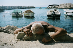 Marseille, 2014 (Eric Seneca Kim) Tags: eric kim marseille portra400 street photography blue seaside shipwreck passed out suntan sunbaker film 35mm leica mp