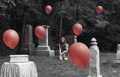 Lost Balloons (mnfurness) Tags: lost cemetery girl balloons red dress floating surreal surrealism