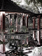 """Night Reflections"" (dijkase) Tags: huntsvillebotanicalgarden al architectural landscape pool waterlilies pavillion photography showkasephotography garden digitalart"