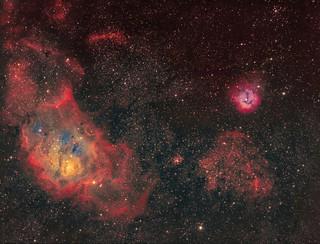 Lagoon Nebula and friends