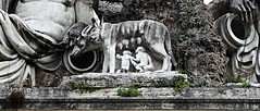 """The she-wolf of Rome (Detail) - """"The Goddess Rome between Tiber and Aniene Rivers"""" - sculptures (1818-1821) by Giovanni Ceccarini on plan by Giuseppe Valadier - Fountain at Piazza del Popolo in Rome (Carlo Raso) Tags: giuseppevaladier giovanniceccarini piazzadelpopolo rome fountain shewolf"""