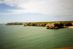 St Govan's Head, from Saddle Point, Bosherston, Sep. 1991 (Great Uncle David) Tags: wales pembrokeshire stgovanshead