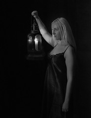 Girl  and Lamp.jpg (Kinesthesis) Tags: female candle portrait 6a availablelight bw lamp paris studio