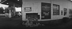 Bud Light parking (ASHLANDJET) Tags: film widelux f7 swinglenscamera ilford xp2 35mm blackandwhite anlaog monochrome crescent oregon vintagecamera panorama wideangle centraloregon