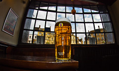 Reflections in a pint glass. Durham City market place. (CWhatPhotos) Tags: city house fish reflection eye window public beer glass canon reflections that square lens prime photo pub focus foto durham with view angle image market photos pics wide pic images fisheye fosters have photographs photograph fotos tavern through manual pint which contain lager 65mm aspherical opteka primelens