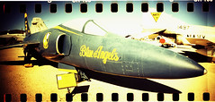 Blue Angels (kevin dooley) Tags: blue arizona green film yellow museum angel analog plane 35mm airplane lomo xpro lomography crossprocessed tucson 5 space air az pima xprocessed blueangels f11 airandspacemuseum blueangel sprockets grumman doublewide airplanemuseum pimaairandspacemuseum tempecamera sprocketrocket grummanf11