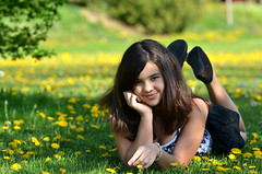 Dandelions bring grass to life (Olivera White Photography) Tags: nature girl portraits dandelions