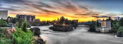 SpokaneFalls Dawn (NikonDigifan) Tags: city clouds sunrise river washington nikon spokane waterfalls nik hdr d300 photomatix colorefexpro mikegassphotography