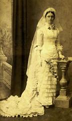Harriet Louisa Thorne on her wedding day in 1882 (Aussie~mobs) Tags: thorne wilson bride wedding vintage ipswich 1882 fashion queensland australia dress gown harrietlouisathorne harrietlouisawilson claremont aussiemobs