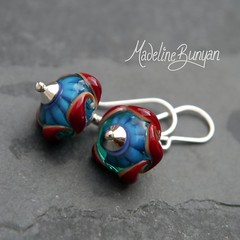 "Teal with Red twist Earrings • <a style=""font-size:0.8em;"" href=""https://www.flickr.com/photos/37516896@N05/7251223846/"" target=""_blank"">View on Flickr</a>"