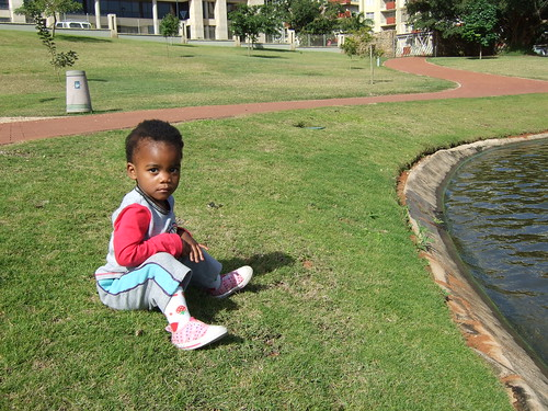 Thanda sitting by the lake