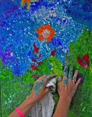 Hands of an Artist (BKHagar *Kim*) Tags: pink flowers blue inspiration green work creativity al hands paint artist alabama creative athens messy bracelet day3 bkhagar peaceloveanimals