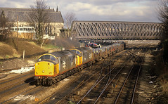Red Stripe Railfreight At Holgate. (neilh156) Tags: york tractor railway holgate steeltrain ecml doubleheaded class37 37514 redstriperailfreight 37517 lackenbycorby