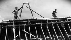 One brick at a time (sPacific details) Tags: street sky blackandwhite construction scaffolding labor southpacific build brickwork guadalcanal drivebyshooting solomons solomonislands honiara develelopment