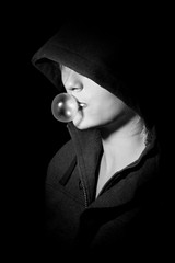 hooded series shot 5 (blueskyjunction photography) Tags: uk light portrait england bw white black london monochrome face mystery mouth dark gum neck nose see eyes nikon shadows blind head bubbles blowing blow vision seeing bubble chewing hood shoulders dslr chin 2012 hooded arcane black white d90