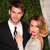Liam Hemsworth and Miley Cyrus 2012 Vanity Fair Oscar Party at Sunset Tower Hotel - Arrivals West Hollywood, California