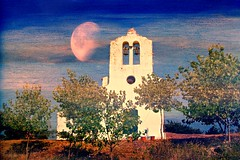 My moon /   (Kerkira) Tags: trees moon texture church village greece corfu soe ropa orthodoxchurch ringexcellence giannades