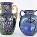 1026. (2) European Double Handled Art Glass Vases