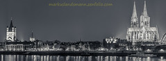 Cologne panorama by night in bw (mlphoto) Tags: street city travel light urban blackandwhite bw panorama night flickr cologne explore sight scape hde