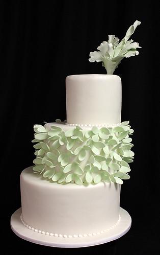 Off-Set Dramatic Flower Wedding Cake