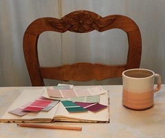 Deciding on a Colour for the Bathroom (B-Anne-B) Tags: house home cup pencil painting notebook ceramic table chair colours tea drink interior curtain beverage