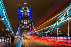 London - Light Trails on Tower Bridge (Yen Baet) Tags: city uk greatbritain trip travel bridge vacation england reflection london water skyline architecture night towerbridge river photography photo twilight colorful europe cityscape waterfront view skyscrapers footbridge unitedkingdom britain dusk postcard scenic landmark icon tourists structure historic promenade vista british bluehour olympics picturesque iconic suspensionbridge metropolitan thamesriver waterscape london2012 britons theshard yenbaet