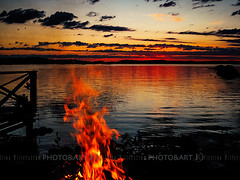 Fires (Chrisseee) Tags: sunset sky lake clouds finland dark landscape fire evening colorful burning campfire kukkia