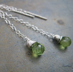 Peridot Sterling Chain Threads (AshleighAnnette) Tags: silver long fine earring drop chain sterling thin dangle threads peridot threader