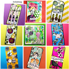 Colorful arttags (Stampinkie) Tags: rubberstamping stampotique taglove arttag tagart