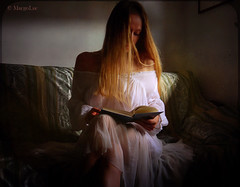The Reader ... (MargoLuc) Tags: reader romantic mood dreamy dark soft light classic inspiration me self portrait girl woman book white silk dress blond hair window natural lighting texture skeletalmess