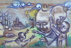 the prodigal son comes home (mcfcrandall) Tags: mural streetart alley lane eglintoneast elicsr biblical biblestory prodigalson king wealth money rich runaway returnhome welcomehome