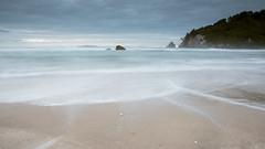 Wide Dawn (Myreality2) Tags: newzealand sunrise waikato importedkeywordtags dawn sand waves beach winter whangamata clouds nz