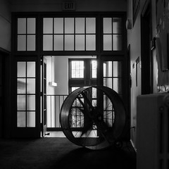 fan (jojoannabanana) Tags: 3662016 blackandwhite canonpowershot contrast fan hallway light shadows squareformat square s100 university