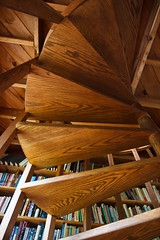 Under the Stairs (Emily Miller Kauai) Tags: wood spiral stairs staircase bookshelf artst356