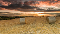 Bales (Steven Peachey) Tags: landscape sunset clouds light sky canon farmland fields canon6d ef1740mmf4l leefilters lee09gnd lee06gnd haybales lightroom5 stevenpeachey exposure goldenhour