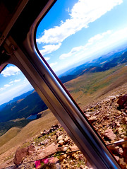 denver24 (jonathan.carroll484) Tags: climb climbing cogwheel train from perspective pike pikes peak colorado rocky mountains rockies clear day blue sky clouds landscape window overlooking