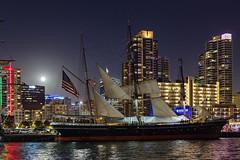 Full Moon over Star of India (George_Adkins) Tags: select maritimemuseumofsandiego sandiegoharbor sandiego starofindia sandiegoskyline cityskyline nightphotography tall ship