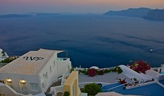 "All around is a ""blues"" town (somabiswas) Tags: oia santorini greece aegean sea evening lights waterscape travel tourism"