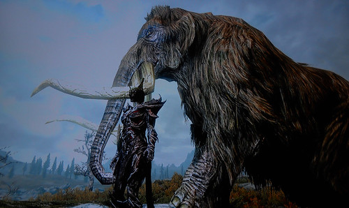 Skyrim Mammoth Armor Skyrim Khajiit Next to Mammoth