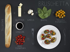 (rachel.martin) Tags: food bread chalk education tomatoes plate baguette math garlic equation basil studiolighting bruscetta emilymoon rachelmartin ckalboard sarahayer grapetomamtoesbutter