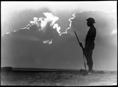 El Alamein [lone soldier on guard in silhouette] (National Library of Australia Commons) Tags: soldier rifle bayonet nationallibraryofaustralia smle leeenfield xmlns:dc=httppurlorgdcelements11 shortmagazineleeenfield leeenfieldrifle dc:identifier=httpnlagovaunlapican23566638