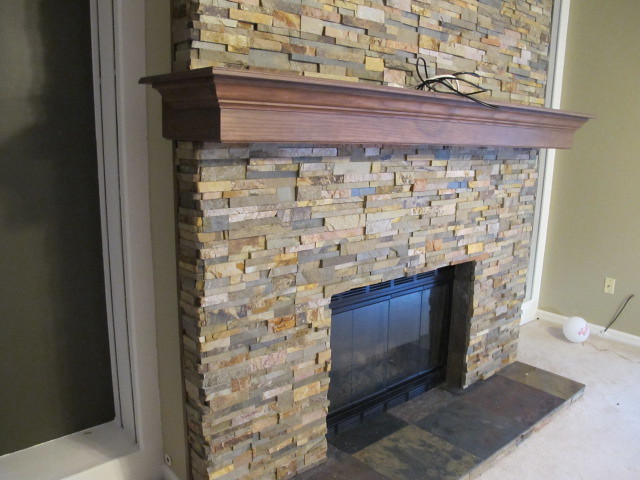 custom wood built mantle