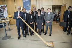 Peter Ramsauer demonstrates the alpine horn with Zurich Group Ministers