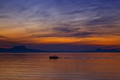 Sunset colors (Theophilos) Tags: sunset sea sky mountains colors clouds boat crete rethymno